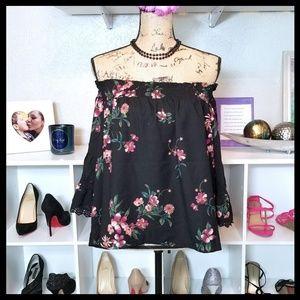 Jolt Cold Shoulder Bell Sleeve Floral Top Black
